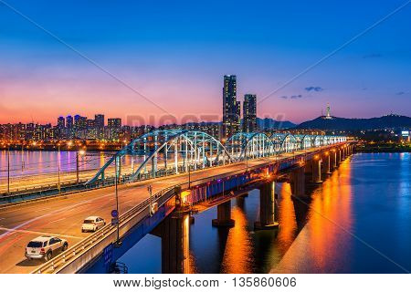 Dongjak Bridge And Han River In Seoul City , South Korea