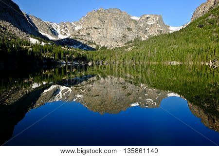 Mountain and Trees Reflected in Alpine Lake.  The Loch, Rocky Mountain National Park, Colorado