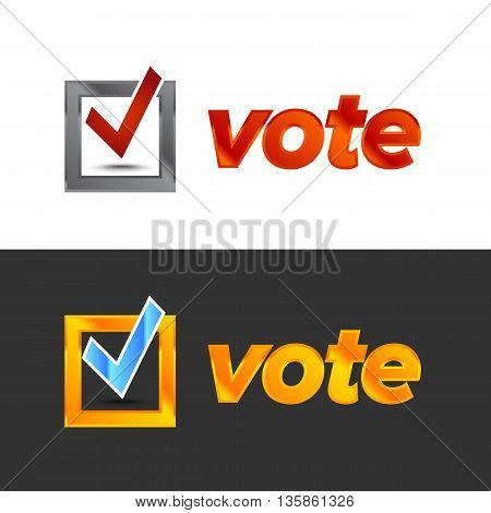 Vote badge for election with check mark