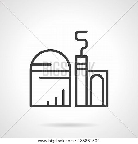 Cereal or grain processing factory. Storage facility, farm grain silo. Industrial and agriculture buildings. Simple black line style icons.