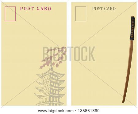 Vintage Post Cards Japan. On the back of the card Japan symbols - pagoda and Japanese sword.