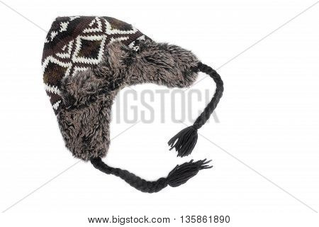 Wool hat ,Gray knitted wool hat with preventing The cold beautiful on white background.