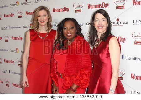(L-R) Woman's Day Editor Susan Spencer, TV personality Star Jones and  Woman's Day Publisher Kassie Means attend Woman's Day Red Dress Awards on February 10, 2015 in New York City.