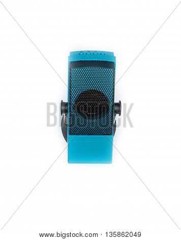 Mini speaker radio - FM receiver. Audio box painted wood amplifier and MP3 playerRadio Microphone. isolated on white background.