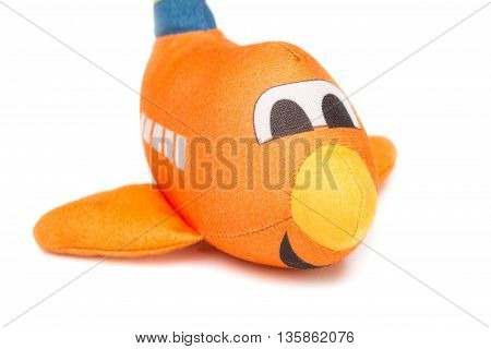 plane beautiful on white background, airplane Plush toy for children.