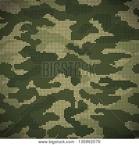 Military camouflage seamless pattern green dots. Vector background
