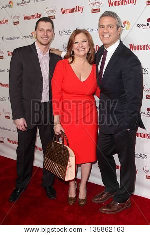 NEW YORK-FEB 10, 2015: (L-R) TV personalities Albie Manzo, Caroline Manzo and Andy Cohen attend the Woman's Day Red Dress Awards at Jazz at Lincoln Center on February 10, 2015 in New York City.