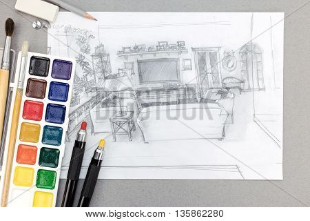 Living Room Graphical Sketch With Watercolor Paints, Brushes And Pencils