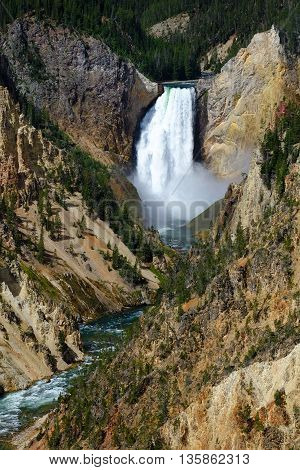 Yellowstone Falls and the Grand Canyon of the Yellowstone. Yellowstone National Park, Wyoming