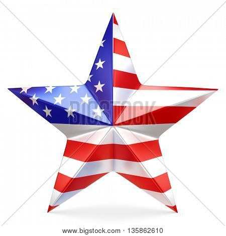 Shiny star with USA flag - 3D rendering