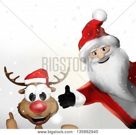 Christmas Santa Claus And A Reindeer Thumbs Up