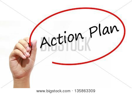 Man Hand writing Action Plan with marker on transparent wipe board. Business internet technology concept.