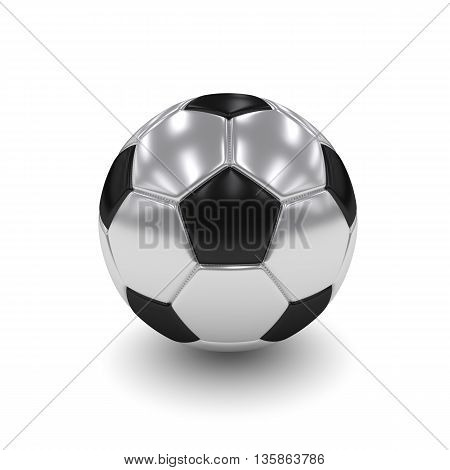 3D Rendered Silver Soccer Ball Isolated Over White