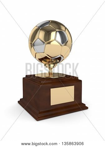 3D Rendered Soccer Ball Trophy Isolated On White
