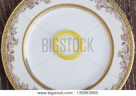 condom in a plate on the table
