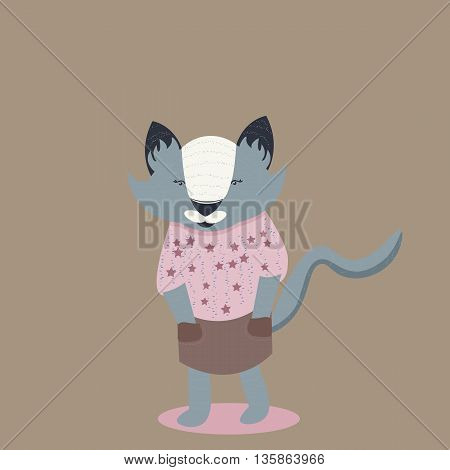 Gray cat in brown skirt. Flat and nice design