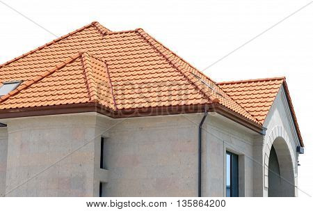 house from a red brick on white background