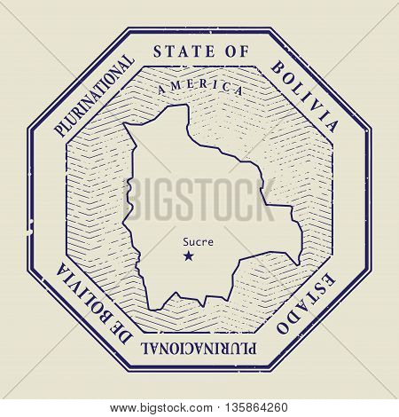 Stamp with the name and map of Bolivia, vector illustration