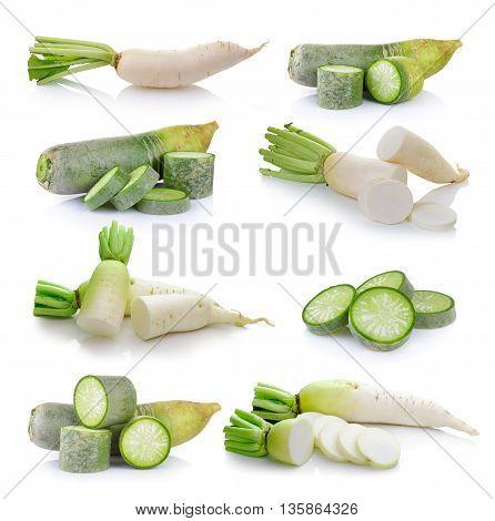 set of Daikon radishes isolated on white background