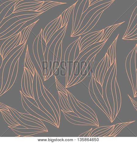 Seamless illustration pattern with abstract leaves coral color on a gray background