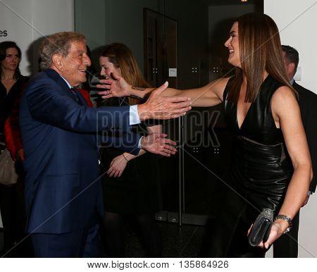 NEW YORK-MAR 30: Model Brooke Shields (R) and singer Tony Bennett attend the