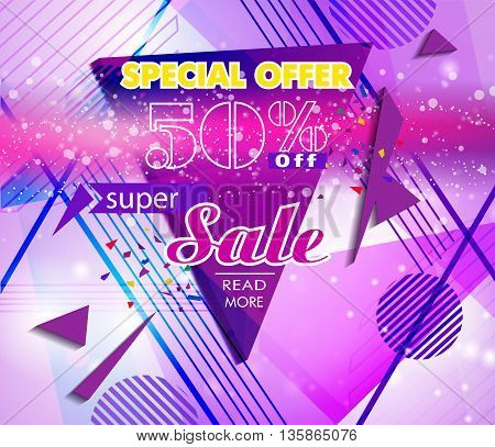 Super Sale shining banner on colorful background. Super Sale and Special Offer. Vector illustration background.