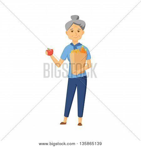 Older women with shopping bag full of healthy food. Senior buy vegetable on market. Old women hold apple and shopping bag with healthy food . Grandma buy products. Old woman with shopping bag vector.