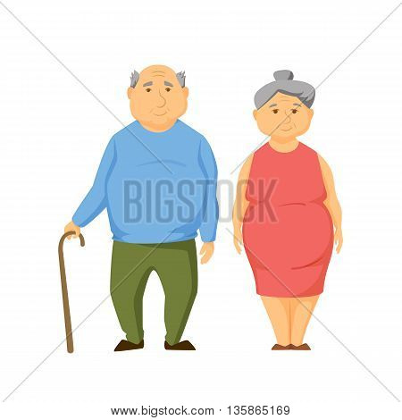 Happy old fat couple stand together and hold hands. Smile elderly obesity men and women. Old couple cute vector illustration. Cartoon elderly man and women. Smile adult family. Cheerful old couple.