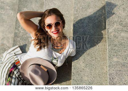Beautiful Boho Girl Sitting On The Stairs