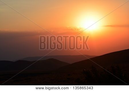 Majestic Sunset over the mountains. Golden Sunset.