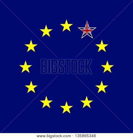 European Union and Great Britain flags concept. UK star. Vector illustration