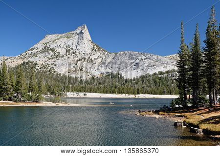 Cathedral Peak and Cathedral Lake on a Sunny Day.  Sierra Nevada, Yosemite National Park, California, USA
