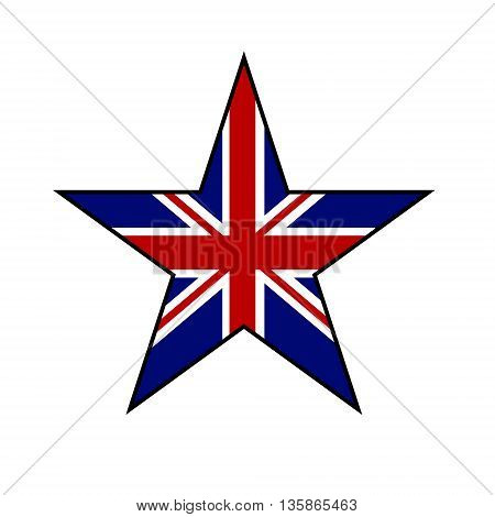 Star in Great Britain flag color isolated on white background. Vector illustration