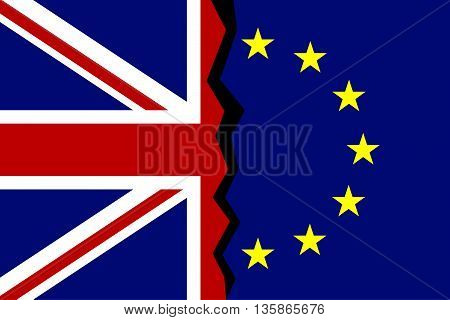 European Union and Great Britain flags concept. A crack between flags. Vector illustration