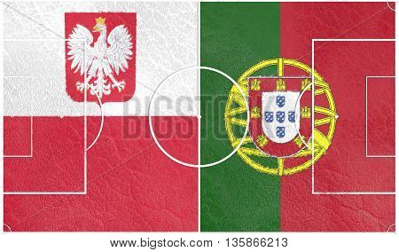 Flags of European countries participating to the final tournament of 2016 football championship. Football field textured by Poland and Portugal national flags.3D rendering