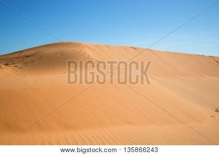 On the red dunes of Mui Ne, landmark of Vietnam