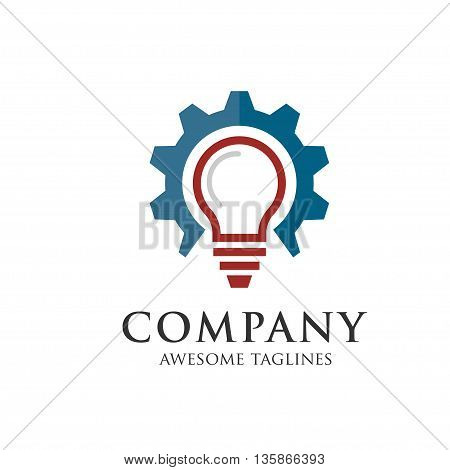 idea gear logo, Light bulb idea icon. Light bulb logo design