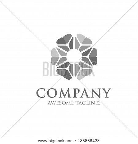 Vector flower ornamental symbols Geometric logo template