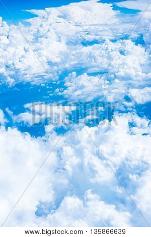 Aerial View Of Blue Sky And Cloud Top View From Airplane Window,nature Background