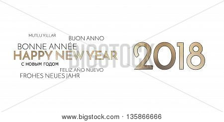 2018 Multilingual Happy New Year Background Golden Font
