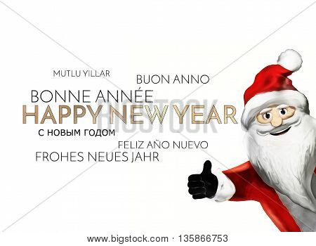 Multilingual Happy New Year Background Golden Font 3D Render