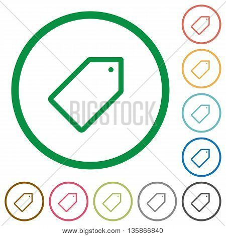 Set of tag color round outlined flat icons on white background