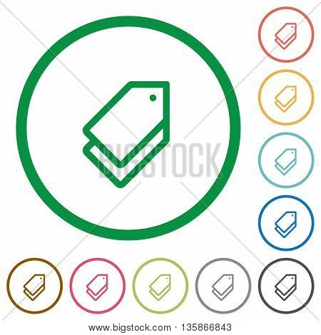 Set of tags color round outlined flat icons on white background