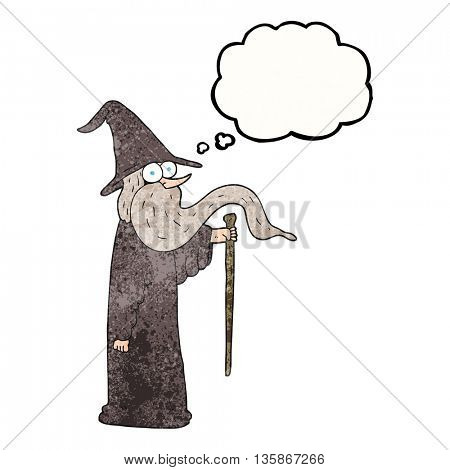 freehand drawn thought bubble textured cartoon wizard