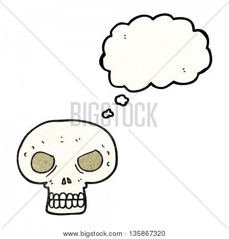 freehand drawn thought bubble textured cartoon skull