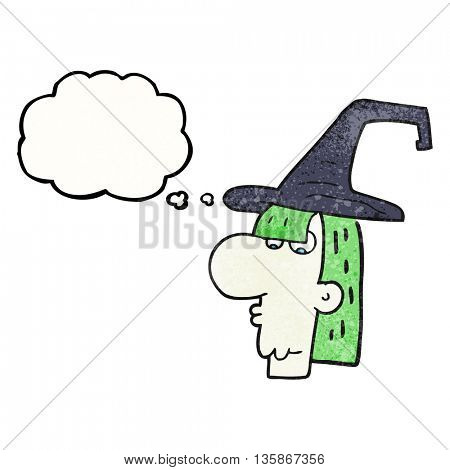 freehand drawn thought bubble textured cartoon witch head