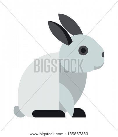 White toy bunny rabbit sitting cute animal cartoon vector