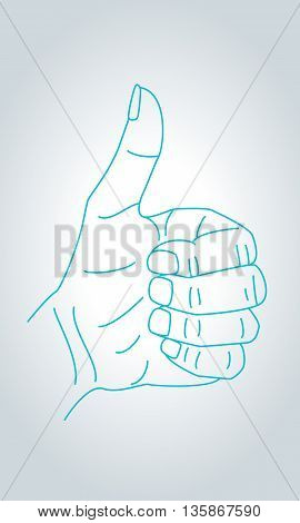Thumbs up sign hand gesture. Cool nice and approval symbol in thin line style.
