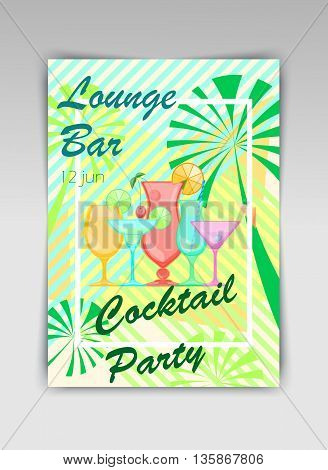 Summer Cocktails. Relax summer holidays illustration. Candy Vector background.