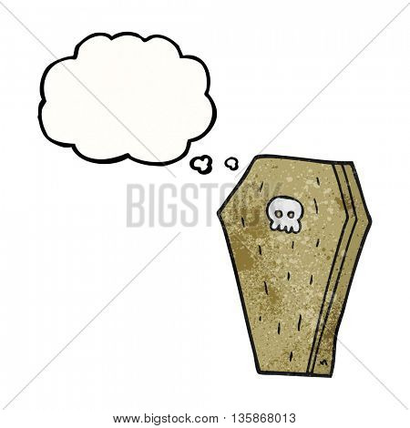 freehand drawn thought bubble textured cartoon halloween coffin